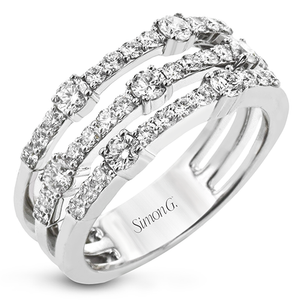 Simon G 18K White Gold Three Row Diamond Ring