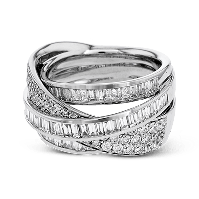 Simon G 18K White Gold Hi-Lo Baguette & Round Fancy Diamond Ring