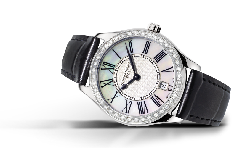 Frederique Constant Classics Ladies Quartz (White MOP Dial / 36mm / Diamond Bezel)
