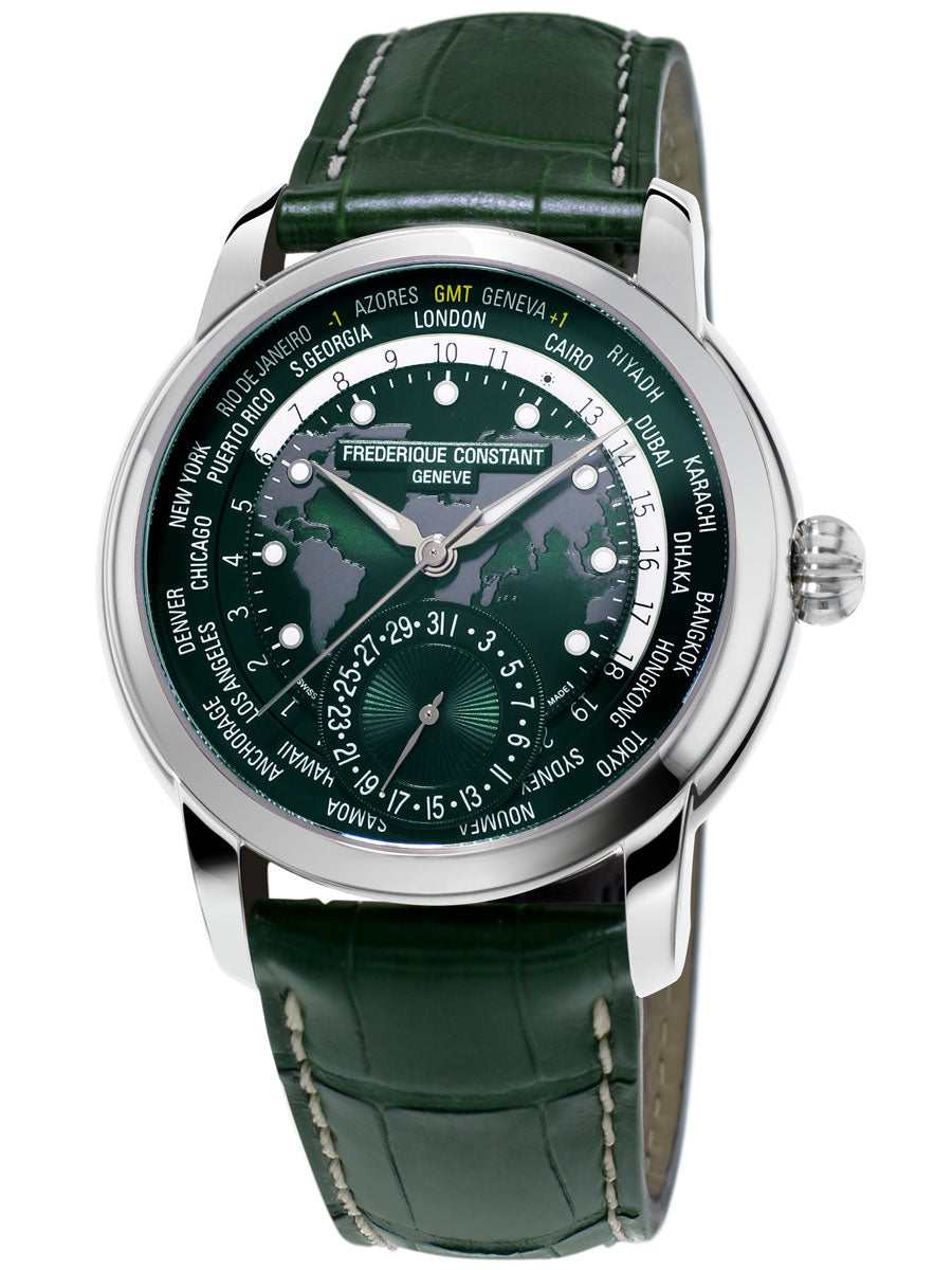 Frederique Constant Classic Worldtimer Manufacture Automatic (Green Dial / 42mm)
