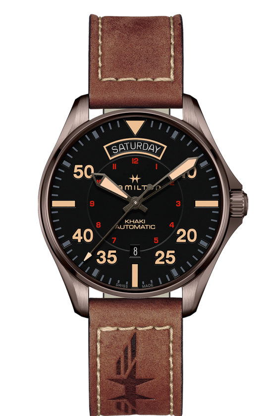 Hamilton Khaki Aviation Day Date Auto (Black Dial / 42mm / Brown PVD Case)