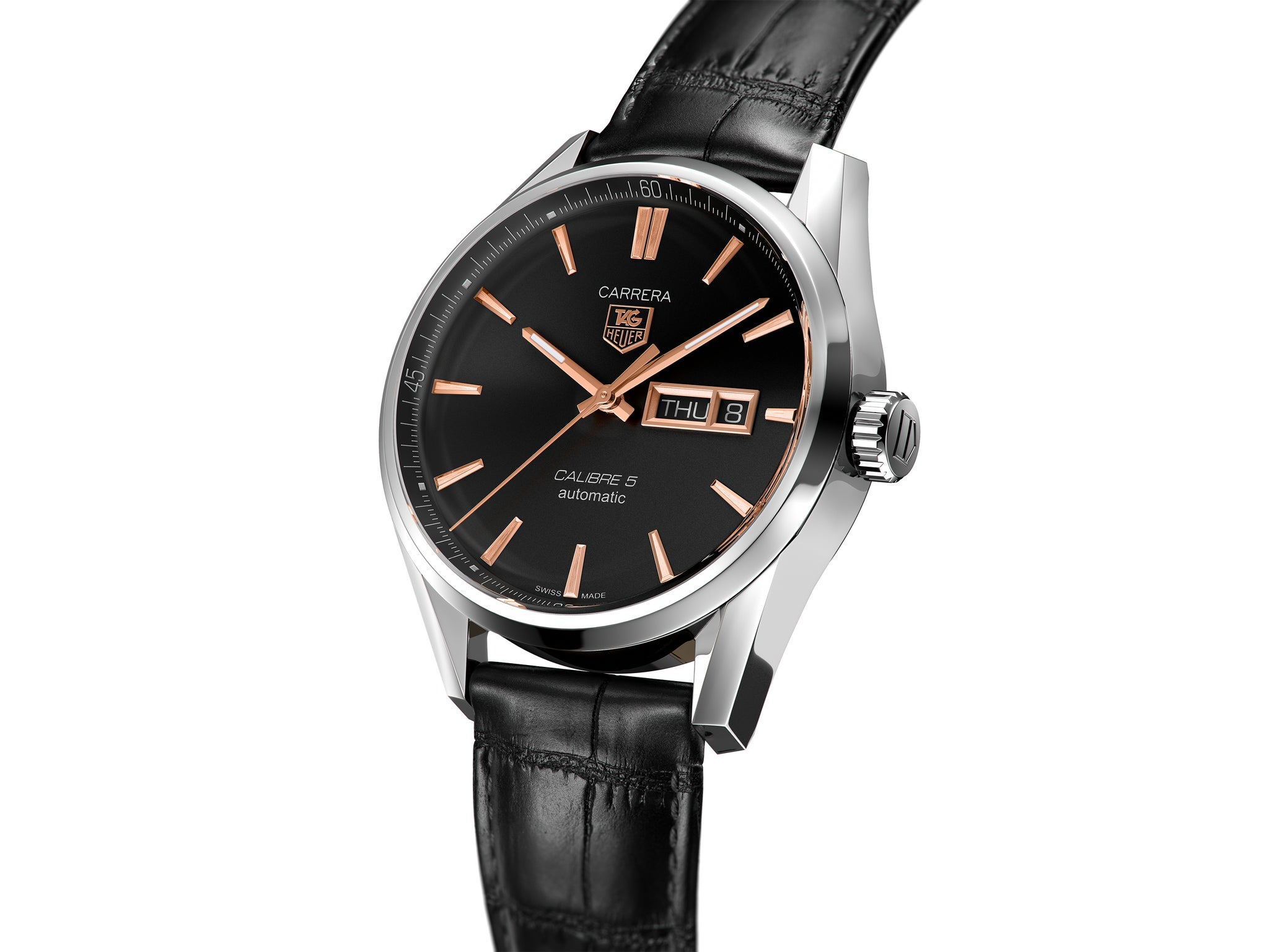 TAG Heuer Carrera Day-Date Automatic (Black & Rose Gold Dial / 41mm / Black Leather)