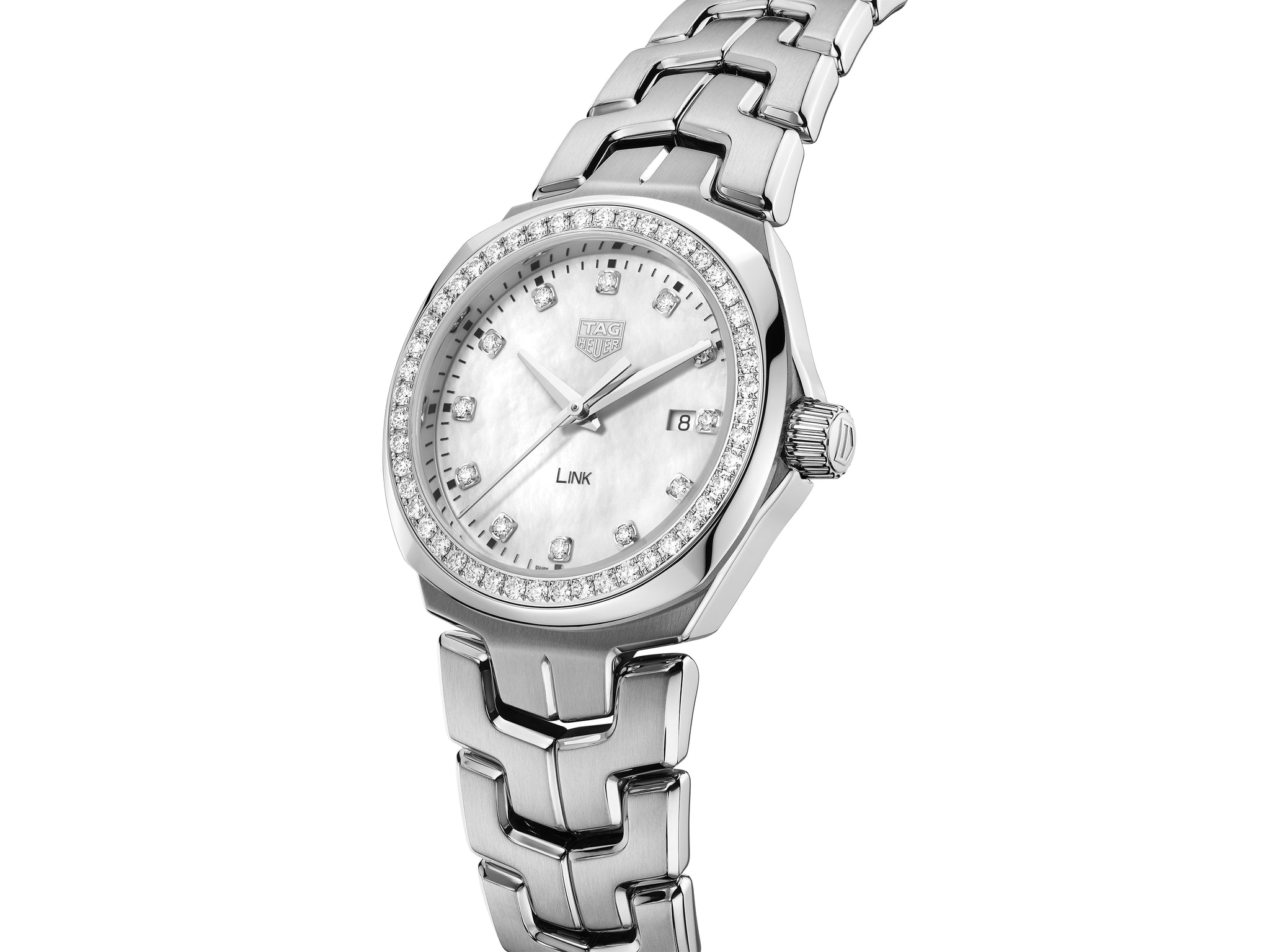 TAG Heuer Link Lady Quartz (White Diamond Dial / 32mm / Diamond Bezel)