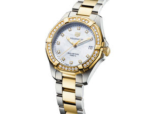 TAG Heuer Aquaracer Steel & Gold Quartz (White Diamond Dial / 27mm / Diamond Bezel)