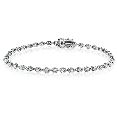 Simon G 18K White Gold Round Diamond Bracelet in Marquise Shape Setting
