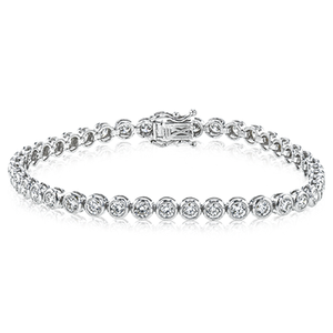 Simon G 18K White Gold Bezel Set Diamond Tennis Bracelet