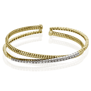 Simon G 18K Two-Tone Yellow Gold Two Row Diamond & Gold Bangle Bracelet