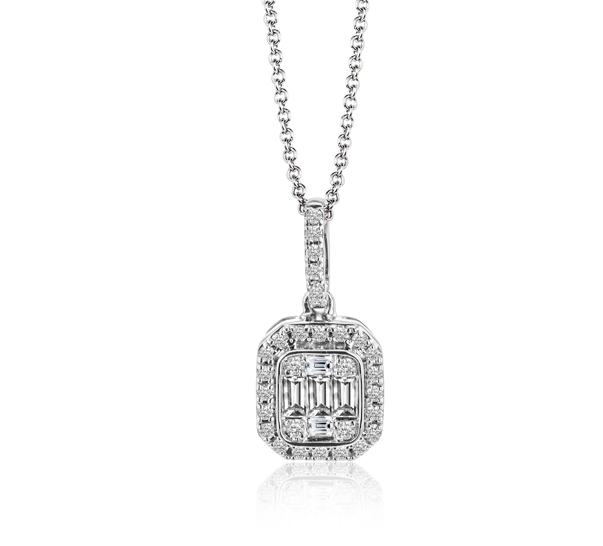 Simon G 18K White Gold Small Illusion Set Baguette & Round Diamond Pendant