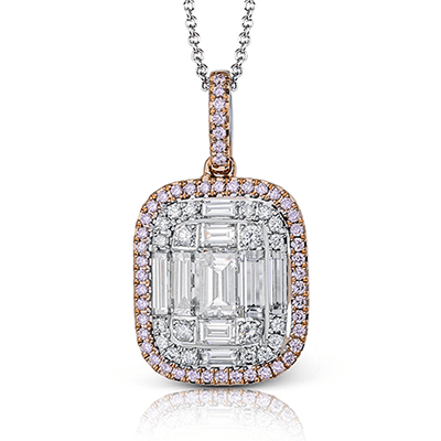 Simon G 18K Large Illusion Set Baguette & Round Diamond Pendant