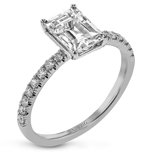 Simon G 18K 4-Prong Emerald Cut Diamond Solitaire Engagement Ring