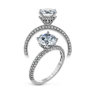 Simon G 18K Round Diamond Engagement Ring With Three Row Bombay Diamond Shank