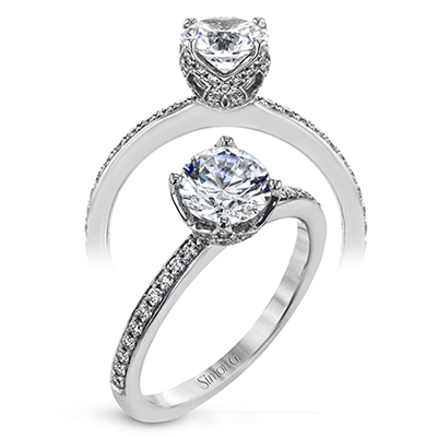 Simon G 18K Round Diamond Engagement Ring With Diamond Wrapped Head