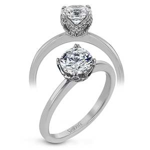 Simon G 18K Round Diamond Solitaire Engagement Ring With Diamond Wrapped Head