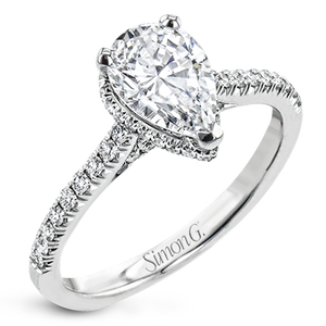 Simon G 18K Pear Shape Diamond Engagement Ring with Hidden Halo