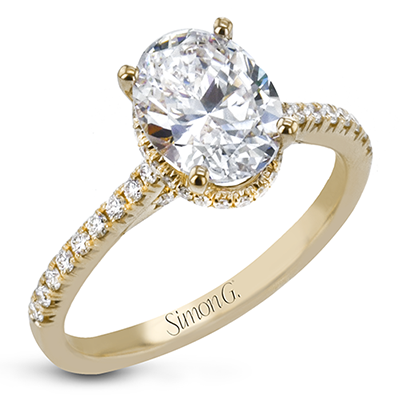 Simon G 18K Oval Diamond Engagement Ring with Hidden Halo
