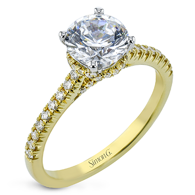 Simon G 18K Round Diamond Engagement Ring with Hidden Halo