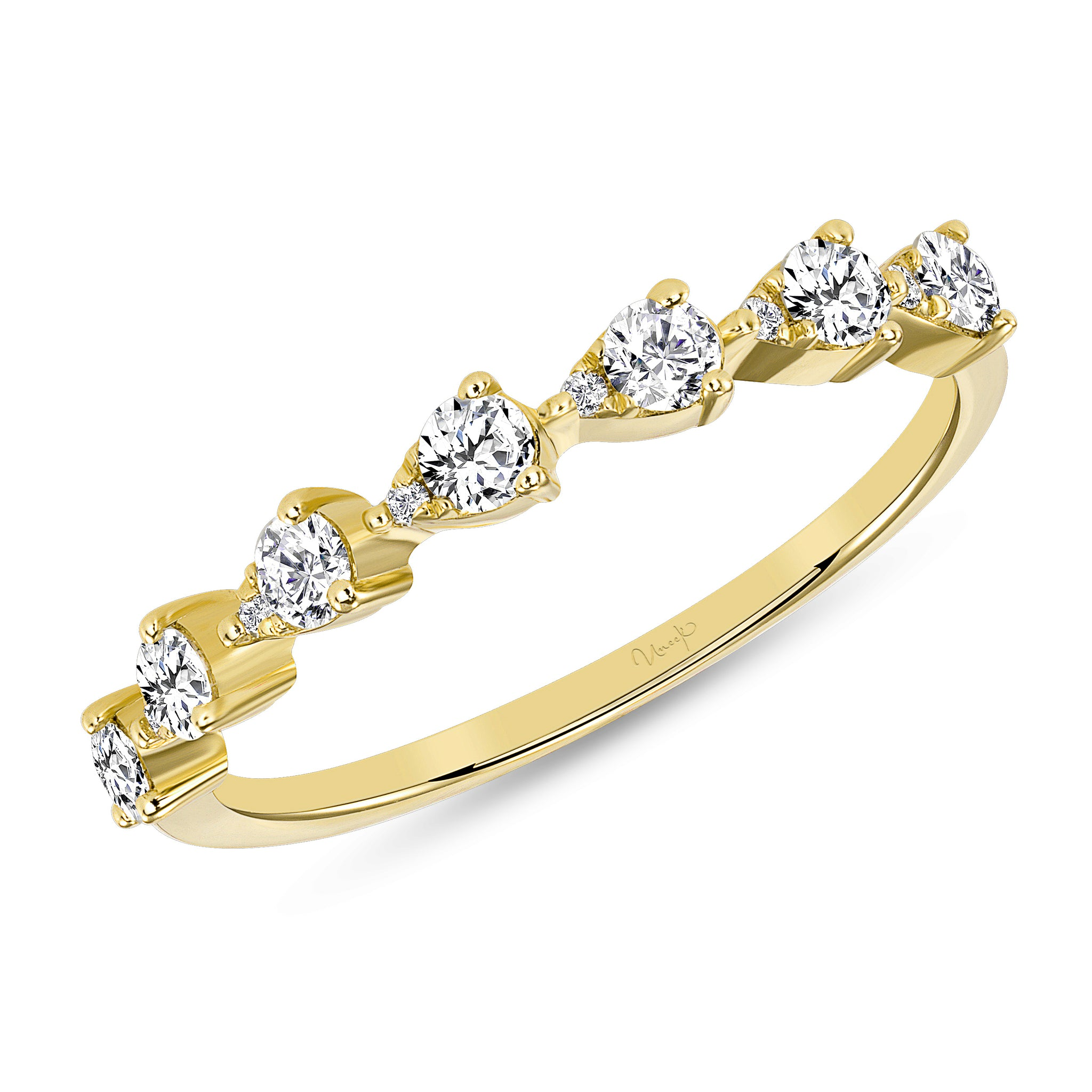 Uneek 14K Round Diamond Pear Shape Half Eternity Band