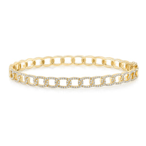 Uneek 14K Diamond Cuban Link Bangle