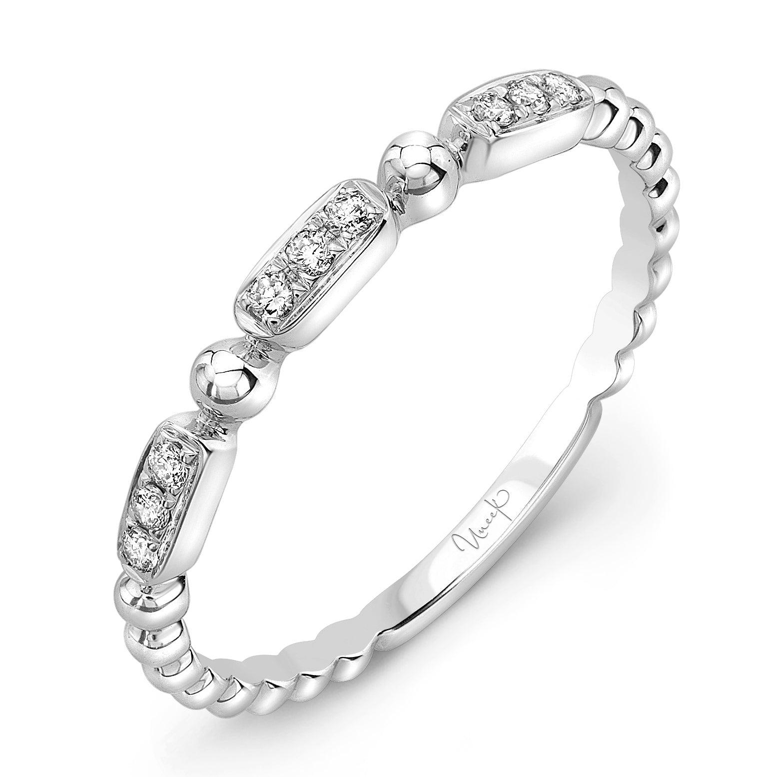 Uneek 14K Round Diamond & Beaded Eternity Band