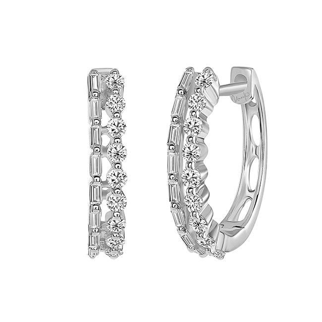 Uneek 14K Diamond Baguette & Round Hoop Earrings