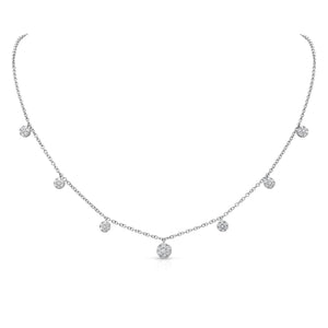 Uneek 18K Cascading Diamond Round 7 Cluster Necklace