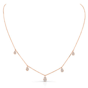 Uneek 14K Diamond Pear Shape Pavé Five Station Drop Necklace