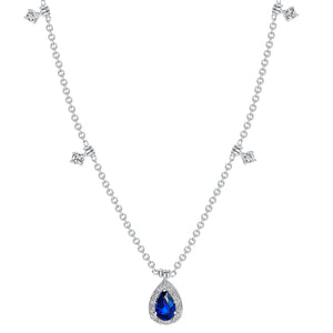 Uneek 18K Pear Shape Blue Sapphire & Diamond Halo Pendant
