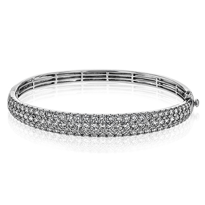 Simon G 18K Diamond Pave Three Row Bangle