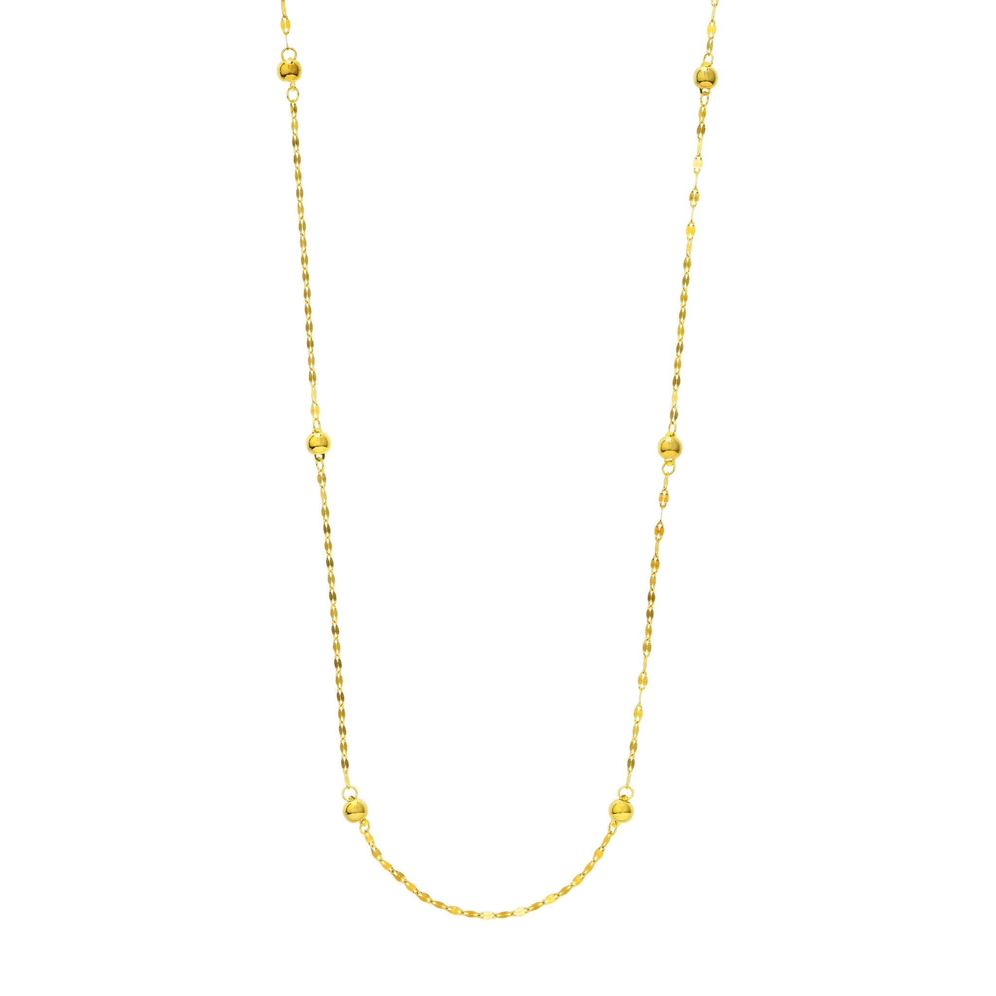 Hemsleys Collection 14K Yellow Gold Forzentina Link & Bead By-The-Yard Necklace