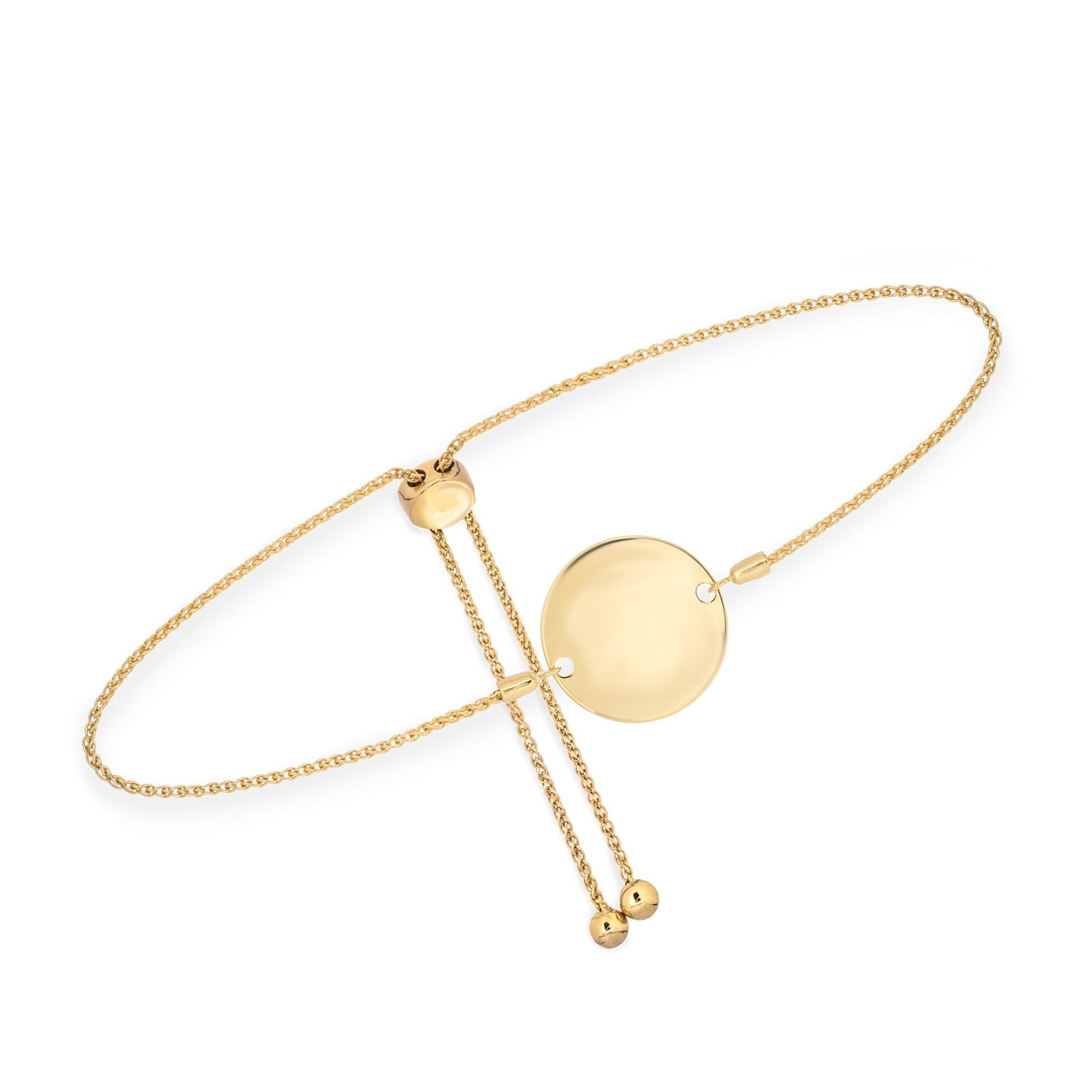 Hemsleys Collection 14K Engravable Round Disc Bolo Bracelet