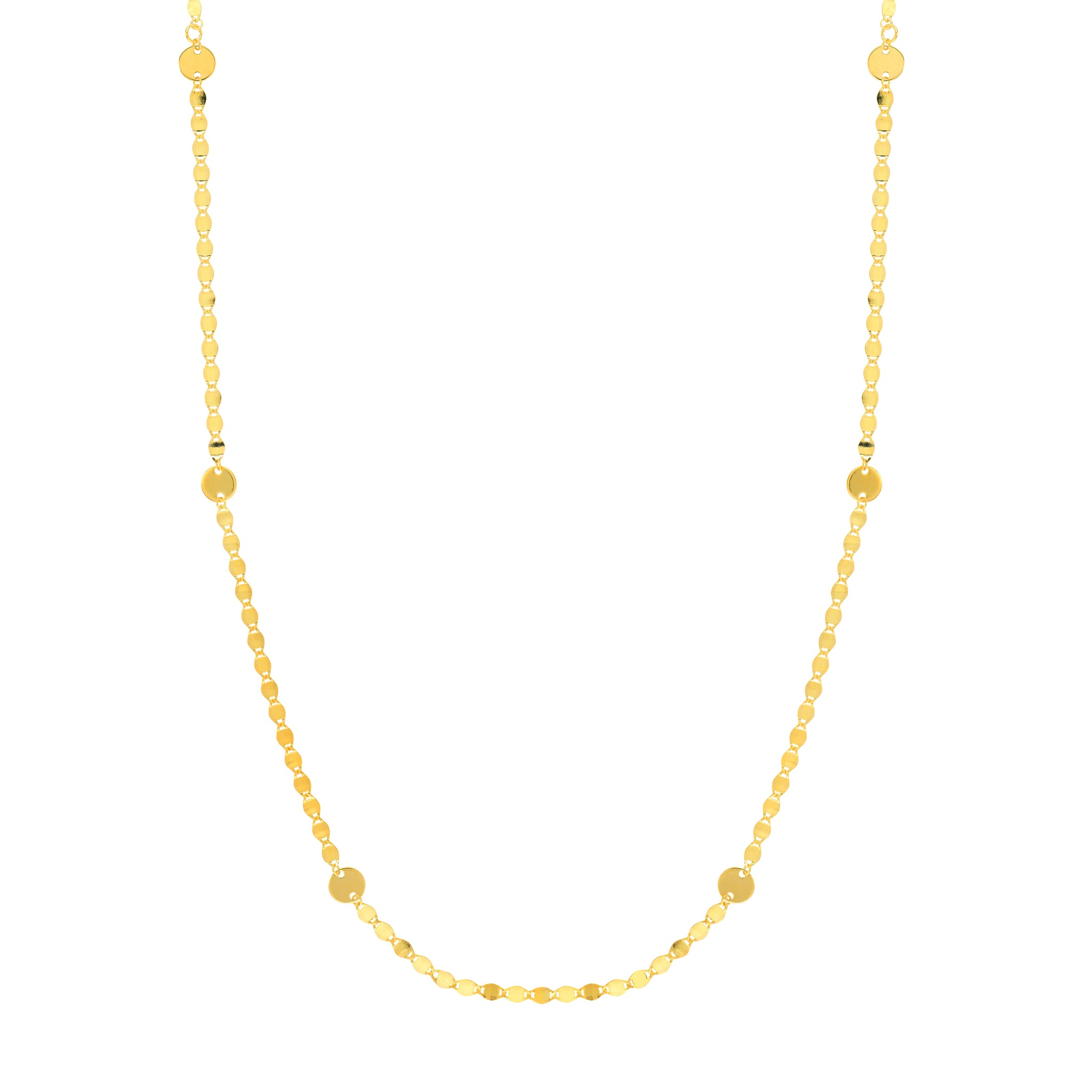 Hemsleys Collection 14K Yellow Gold Valentino Link with Round Discs Necklace