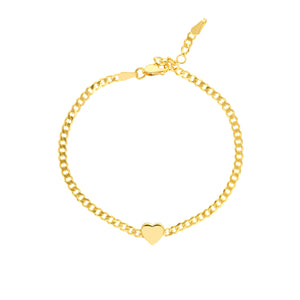 Hemsleys Collection 14K Yellow Gold Puffed Heart Cuban Link Bracelet
