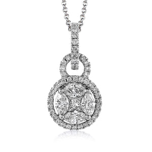 Simon G 18K White Gold Mosaic Set Diamond Pendant