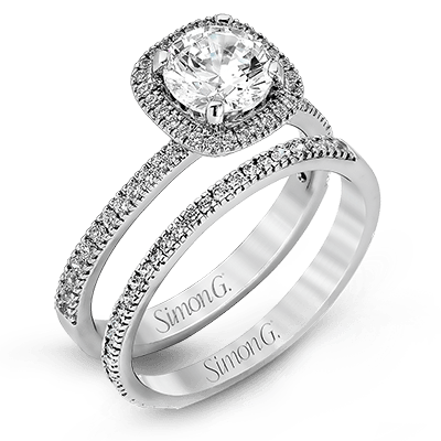 Simon G 18K Cushion Diamond Halo Dainty Engagement Ring