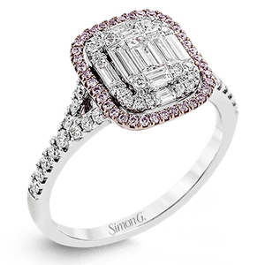 Simon G 18K Illusion Set Baguette & Round Diamond Ring