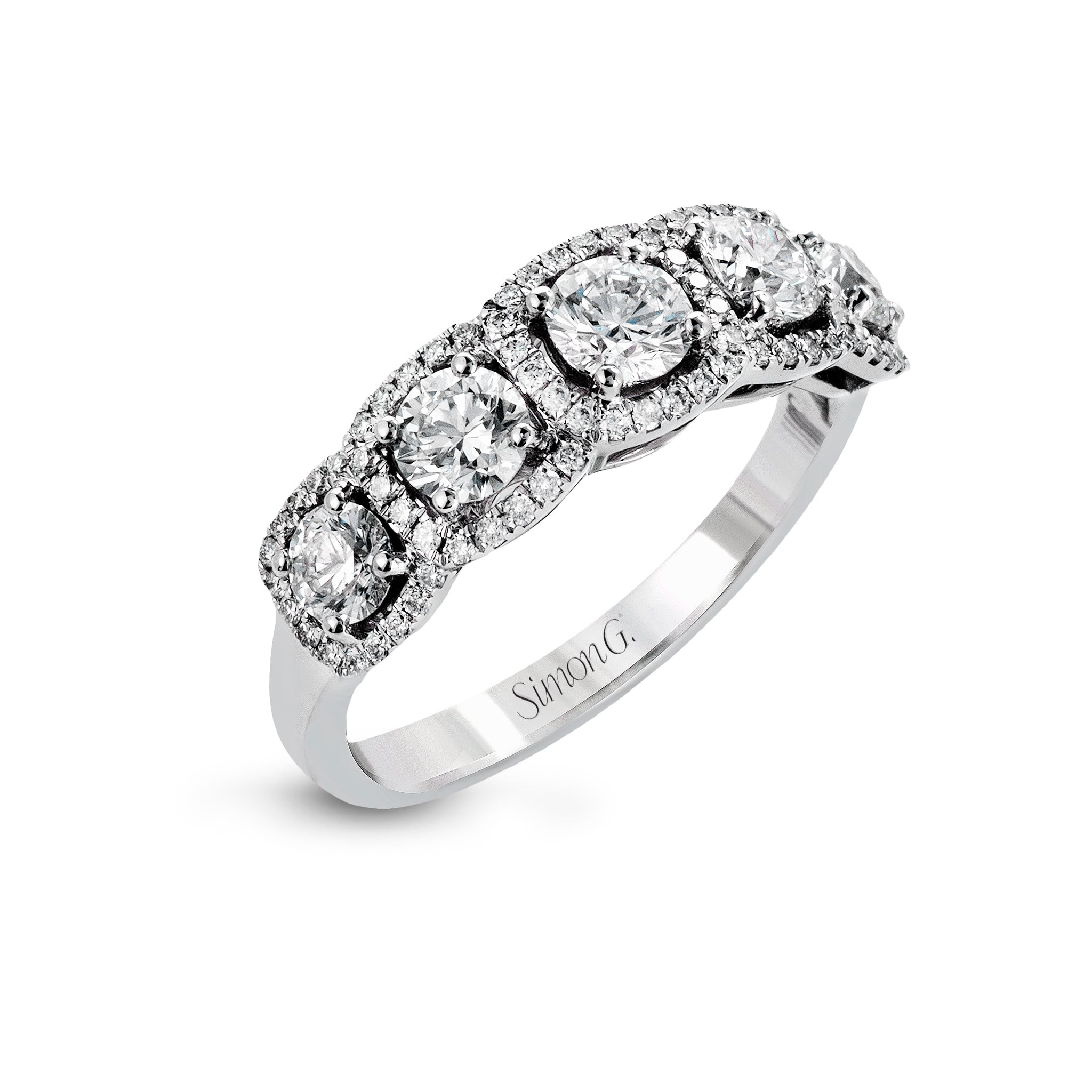 Simon G 18K White Gold Five Stone Diamond Ring