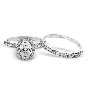 Simon G 18K Oval Diamond Halo Engagement Ring