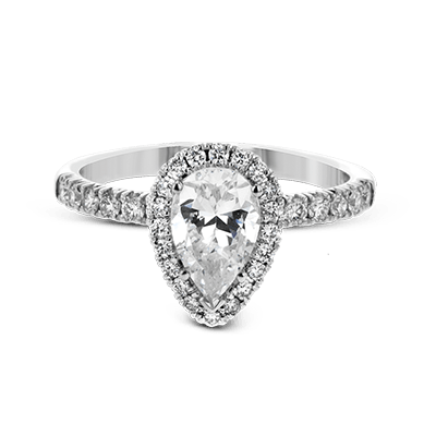 Simon G 18K Pear Shape Diamond Halo Engagement Ring