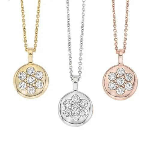Hemsleys Collection 14K Diamond Flower Illusion Set Disc Pendant