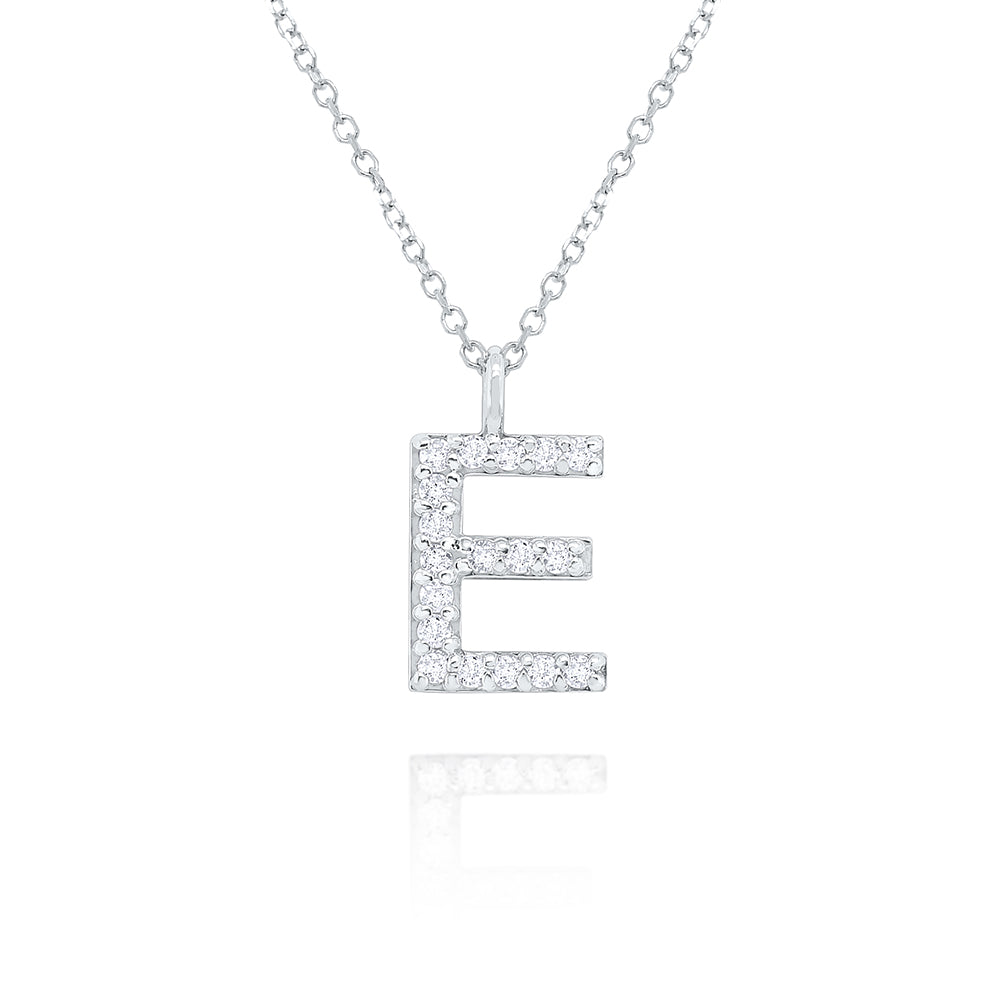 Hemsleys Collection 14K Diamond Modern Block Letter Initial Necklace
