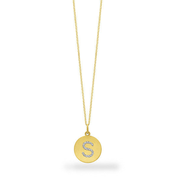 Hemsleys Collection 14K Large Diamond Disc Block Letter Initial Necklace