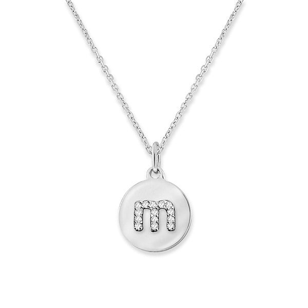 Hemsleys Collection 14K Mini Diamond Disc Lowercase Initial Necklace