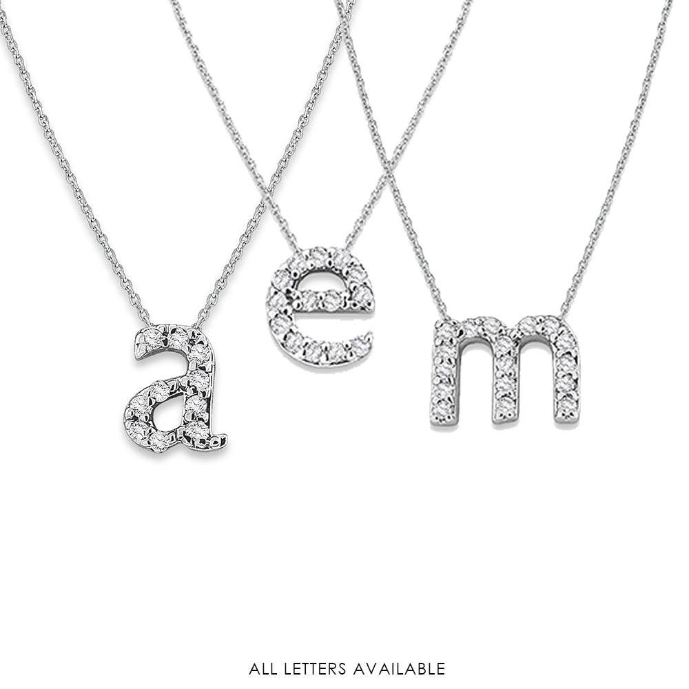 Hemsleys Collection 14K Diamond Mini Lowercase Initial Necklace