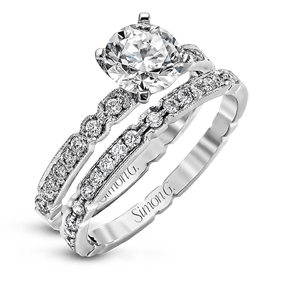 Simon G 18K Round Diamond Filagree Engagement Ring