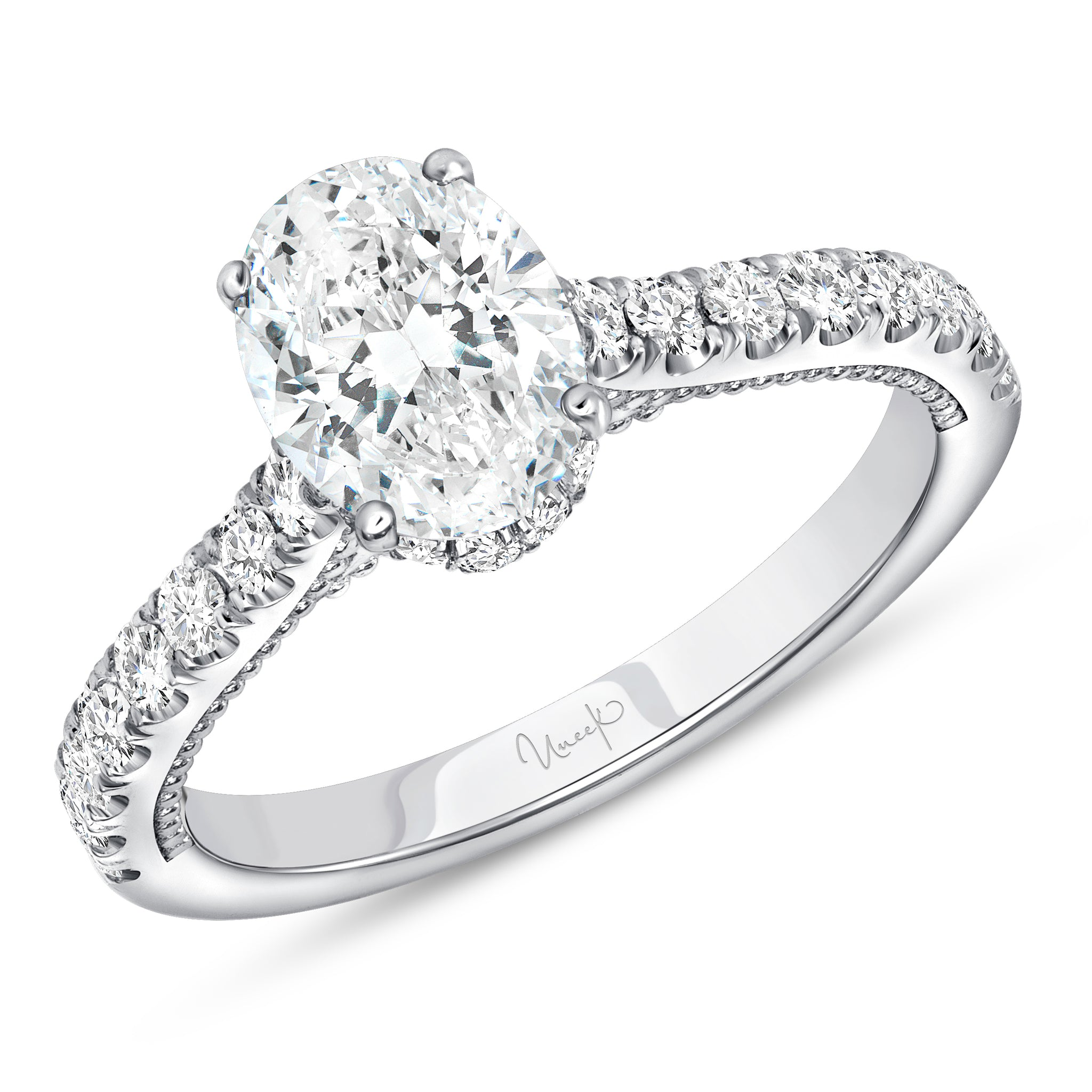 Uneek 14K Oval Diamond 4-Prong Engagement Ring