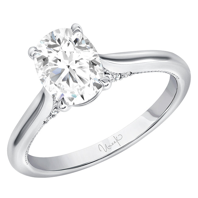 Uneek 14K Oval Diamond Solitaire Engagement Ring