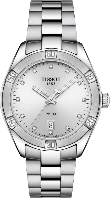 Tissot PR 100 Sport Chic Quartz (Silver Diamond Dial / 36mm)