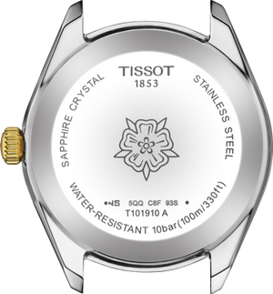 Tissot PR 100 Sport Chic Quartz (White MOP Dial / 36mm / Yellow Gold Two-Tone)