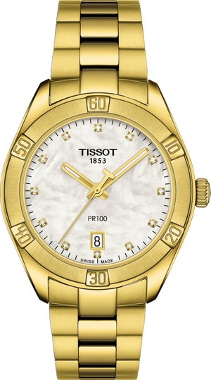 Tissot PR 100 Sport Chic Quartz (White MOP Diamond Dial / 36mm / Yellow Gold)