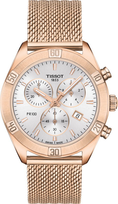 Tissot PR 100 Sport Chic Quartz Chronograph (Silver Dial / 36mm / Rose Gold)